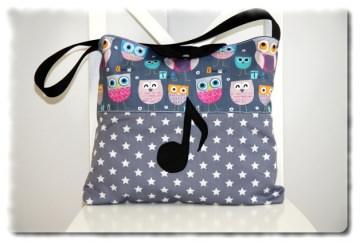 Noten-Tasche Flötentasche ´´EULEN´´  einzeln angefertigt mit Note (Kopie id: 100038788)