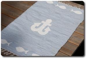 maritimer Flickenteppich mit Anker und Fischen,Teppich H-H 219,Läufer,Matte,Fußmatte,Bettvorleger,Kinderzimmerteppich,Anker,Fische,maritim,Gästezimmerteppich,Küchenteppich,Esszimme