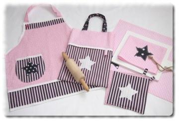 Kinderschürze Starter-Set für Kids ´´Emma´´ Kindertasche Geschirrtuch