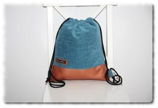 Turnbeutel Rucksack einzeln angefertigter Trend Rucksack  in Kupfer metallic und türkis