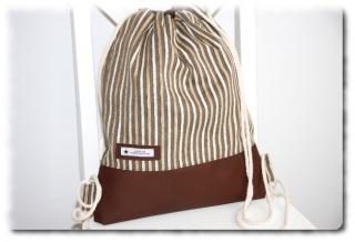 Turnbeutel Rucksack einzeln angefertigter Trend Rucksack  in braun/beige