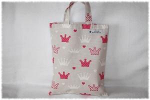 Kindertasche,Büchertasche,Kindergartentasche,genäht,Handarbeit,Einkaufstasche,Stofftasche,Geschenke Tasche,Krone,Prinzessin,