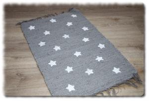 Flickenteppich,Läufer,kleiner Teppich,Fußmatte,Sterne,Bettvorleger,grau,