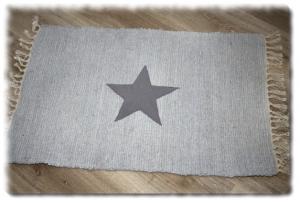 Flickenteppich,Läufer´´ Einzelstück´´ T-271 Stern,Teppich Stern,Teppich Kinderzimmer,Esszimmerteppich,maritim,grau,Fleece Stern,