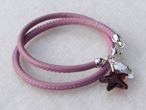 Wickelarmband SEESTERN Nappa-Leder flieder Blatt Silber