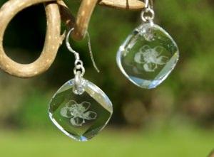 Ohrhänger KLARE BLÜTE  Kristall, 925er Silber