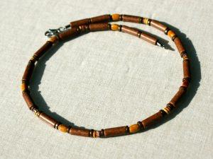Halskette für Männer in Braun schmal Keramik Leder Peru handbemalt Edelstahl leicht