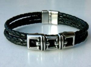 Armband für Männer 3FACH SCHWARZ  Leder Edelstahl  - Handarbeit kaufen