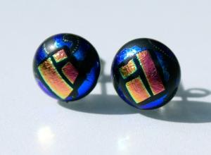 Stecker FENSTER BLAU-GELB dichroitisches Glas Ohrstecker rund Dots Unikat EdelstahlDots
