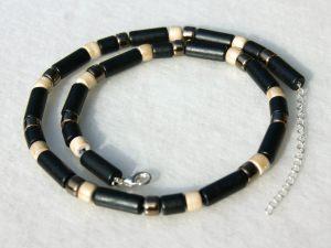 Kette schwarz-sand-bronze, Keramik auf Leder - Handarbeit kaufen