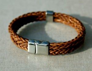 Männer-Armband doppelt, Leder, Edelstahl