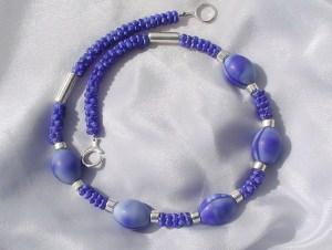 Halskette AFRIKA BLAU  Handelsperlen, Keramik versilbert 925erSilber Unikat