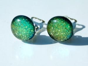 Clips DOTS  grün-gelb  dichroitisches Glas