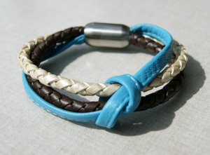 Leder-Armband Türkis-Braun 3fach mit Knoten