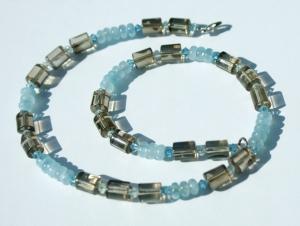 zauberhaft: Aquamarin und Rauchquarz Halskette 925er Silber schmal elegant edel Steinschmuck