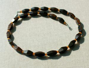 Kette für Männer schwarzes EBENHOLZ, Handelsperlen Lederband Edelstahl orange gelb schlicht elegant edel unisex leicht