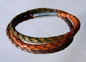 Wickel-Armband  HERBST Leder Edelstahl