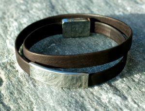 Männer Wickel-Armband Nappa-Leder braun, Edelstahl schlicht elegant