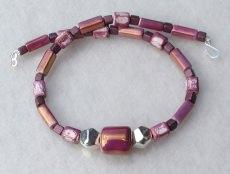 Collier  WECHSELHAFT  griechische Keramik violett mauve Unikat