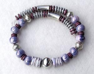 Collier FLIEDER-GRAU Keramik Silber violett Lederband versilbert Unikat - Handarbeit kaufen