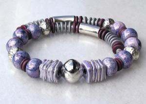 Collier FLIEDER-GRAU Keramik Silber violett Lederband versilbert Unikat