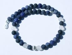 Kette KUGELN  Sodalith Bergkristall 925erSilber mattiert Steinschmuck edel blau schlicht elegant