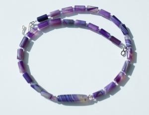 ganz in LILA elegante schmale Halskette Achat - Handarbeit kaufen