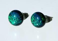 Ohrstecker Mini-Dots dunkelgrün dichroitisches Glas Edelstahl - Handarbeit kaufen