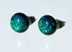 Ohrstecker Mini-Dots dunkelgrün dichroitisches Glas Edelstahl