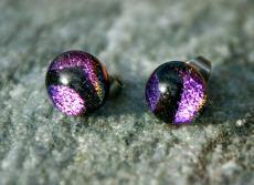 Ohrstecker Mini-Dots Violett-Schwarz