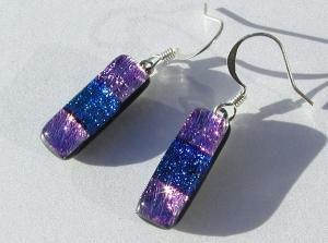 Ohrhänger LAURA dichroitisches Glas, Silber pink blaugrün Patchwork Unikat