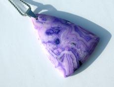 Crazy Lace Achat Anhänger mit Edelstahlkette flieder violett - Handarbeit kaufen