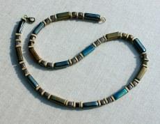 Halskette Männer BRONZE GLANZ Keramik  Leder