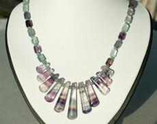 Collier CLEOPATRA Fluorit, Silber elegant