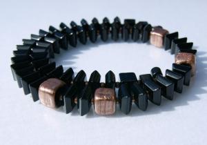 SCHWARZ-KUPFER Halskette Quadrate Onyx Aventuringlas elegant Würfel Unikat Steinschmuck