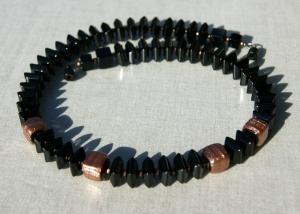 SCHWARZ-KUPFER Halskette Quadrate Onyx Aventuringlas elegant Würfel Unikat Steinschmuck - Handarbeit kaufen