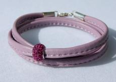 Wickelarmband flieder+pink Nappa-Leder, Silber
