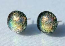 Ohrstecker AMRUM dichroitisches Glas, Silber Unikat Dots