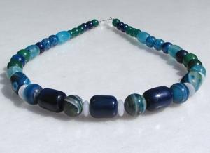 Collier OZEAN  Achat in Blau-Grün  Halskette Unikat Steinschmuck versilbert