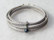 Wickelarmband BLAUE PERLE  Nappaleder grau 925er Silber elegant - Handarbeit kaufen