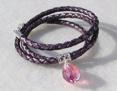 elegantes Wickel-Armband 3fach Leder, Silber