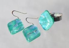 Set RAUTE Ring Ohrhänger dichroitisches Glas türkis silber Unikat Silber