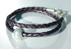 Wickel-Armband mit Perle, Leder, 925er Silber