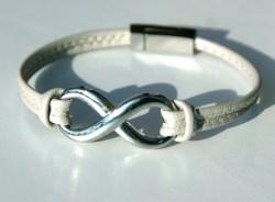 Armband INFINITY Nappa-Leder grau  doppelt Edelstahl Magnetverschluss Symbol Unendlichkeit schlicht edel Geschenk unisex