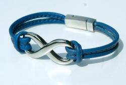 Armband INFINITY Nappa-Leder blau  Edelstahl