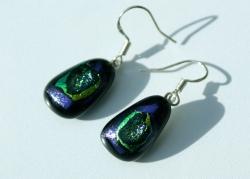 Ohrhänger GROTTE  lila-grün dichroitisches Glas