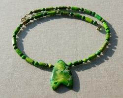 Kette mit Anhänger - Sediment Jaspis grün Unikat