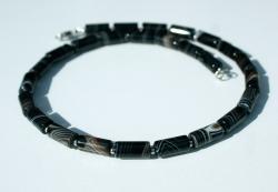 Männer Halskette gebänderter ACHAT Edelstahl dezent edel schwarz unisex Steinschmuck elegant Geschenk