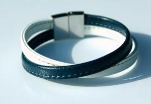 Armband Nappa-Leder blau weiß Edelstahl
