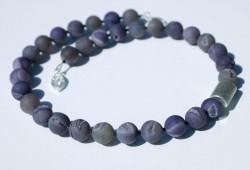 Kette  UNDERSTATEMENT  Drusen- Achat 925er Silber Geoden Kristalle Unikat Steinschmuck elegant schlicht dunkel violett  estravagant